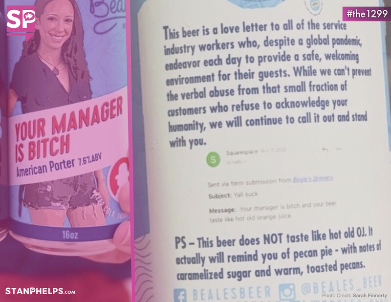 """Beale's Brewery announced a new beer called """"Your Manager is Bitch"""""""
